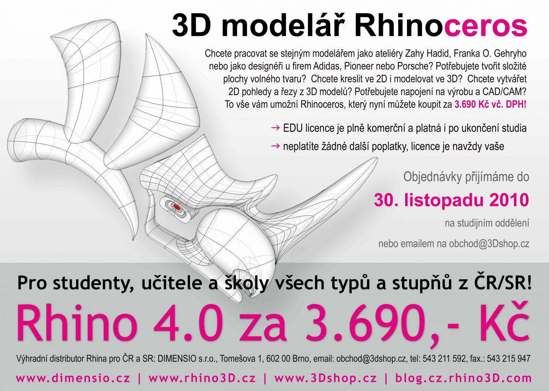 Rhinoceros za 3.690,- včetně DPH